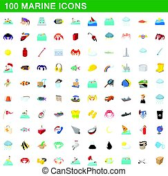 100 marine icons set, cartoon style