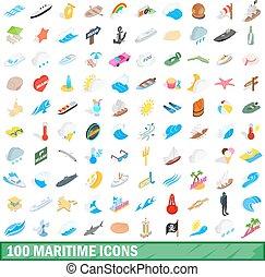 100 maritime icons set, isometric 3d style