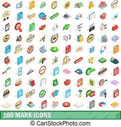 100 mark icons set, isometric 3d style