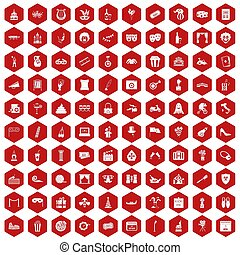 100 mask icons hexagon red