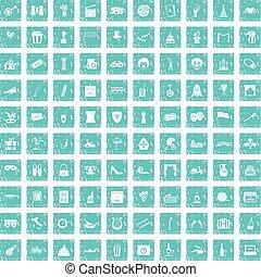 100 mask icons set grunge blue