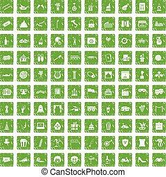 100 mask icons set grunge green