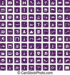 100 mask icons set grunge purple