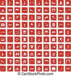 100 mask icons set grunge red
