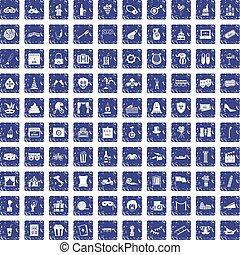 100 mask icons set grunge sapphire
