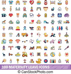 100 maternity leave icons set, cartoon style