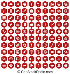 100 meal icons hexagon red
