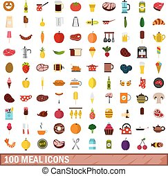 100 meal icons set, flat style
