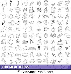 100 meal icons set, outline style