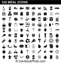 100 meal icons set, simple style - 100 meal icons set in...