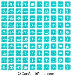 100 medal icons set grunge blue