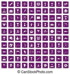 100 medal icons set grunge purple