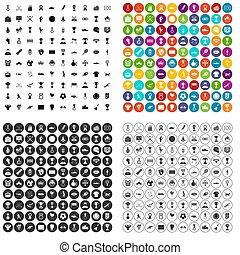 100 medal icons set variant