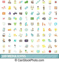 100 media icons set, cartoon style