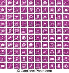 100 media icons set grunge pink