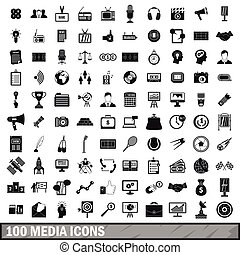 100 media icons set in simple style