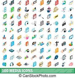 100 media icons set, isometric 3d style