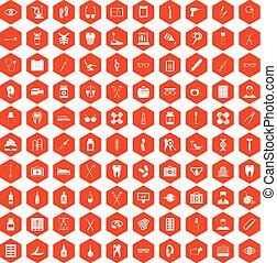 100 medical accessories icons hexagon orange