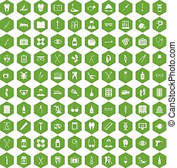 100 medical accessories icons hexagon green