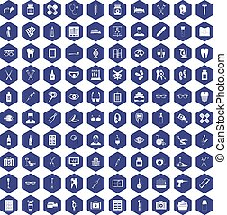 100 medical accessories icons hexagon purple