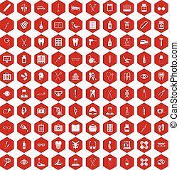 100 medical accessories icons hexagon red