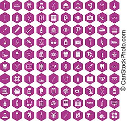 100 medical accessories icons hexagon violet