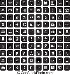 100 medical accessories icons set black