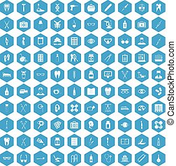 100 medical accessories icons set blue
