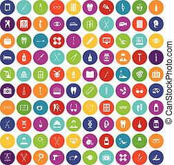 100 medical accessories icons set color
