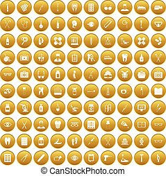 100 medical accessories icons set gold