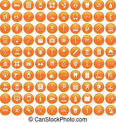 100 medical accessories icons set orange