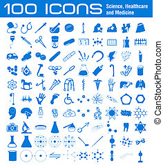 100 Icons related to Science, Healthcare and Medicine