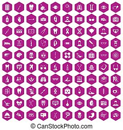 100 medical icons hexagon violet