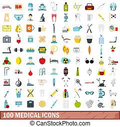 100 medical icons set, flat style