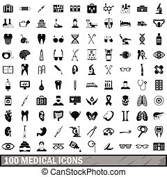100 medical icons set in simple style for any design vector...