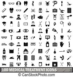 100 medical treatmet icons set, simple style