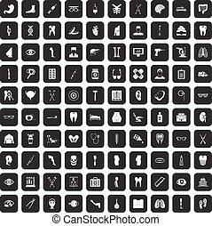 100 medicine icons set black