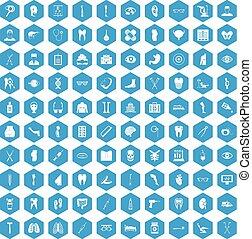 100 medicine icons set blue