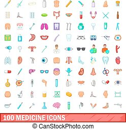 100 medicine icons set, cartoon style
