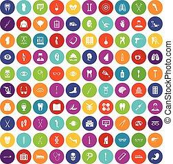 100 medicine icons set color