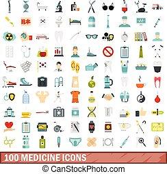 100 medicine icons set, flat style