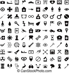 100 medicine icons set, simple style
