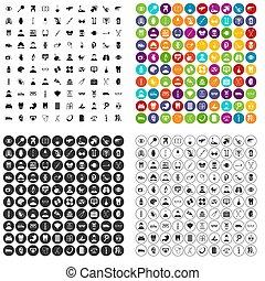 100, medico, controllo, icone, set, variante