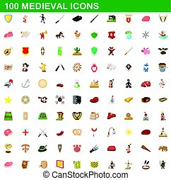 100 medieval icons set, cartoon style