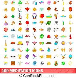 100 meditation icons set, cartoon style