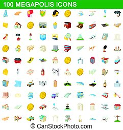 100 megapolis icons set, cartoon style