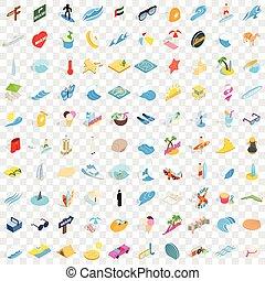 100 miami icons set, isometric 3d style