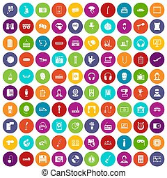 100 microphone icons set color