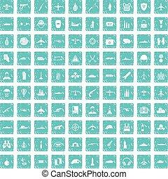100, militær, ressourcer, iconerne, sæt, grunge, blå