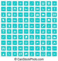 100, militaer, ressourcen, heiligenbilder, satz, grunge, blaues